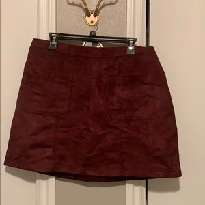 New without tag burgundy faux suede skirt